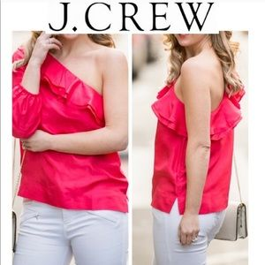 J. Crew One-Shoulder Silk Shantung Top